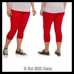 Pants - Plus-Size Capri Leggings, Red